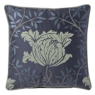 Fine Embroidered Floral Design Silk Accent Pillow