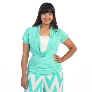 Hadari Women's Plus Size Mint Green Cowl Neck Blouse