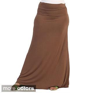 Hadari Women's Plus Size Fold-over Maxi Skirt
