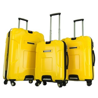 GABBIANO Yellow Polycarbonate 3-piece Expandable Hardside 8-wheel Spinner