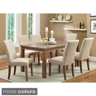Furniture of America Seline 7-piece 64-inch Dining Table Set with Leatherette Chairs