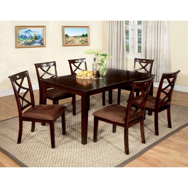 Furniture of America Xenise 7-piece Dark Walnut Dining Set 13188283