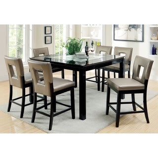 Furniture of America Evantel 7-piece Mirror Counter Height Table Set