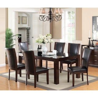 Furniture of America Byzantia 7-piece Tempered Glass Dining Set