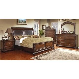 Furniture of America Dragia 4-Piece Brown Cherry Bedroom Set