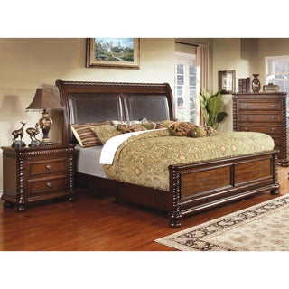 Furniture of America Dragia Brown Cherry Leatherette Platform Bed