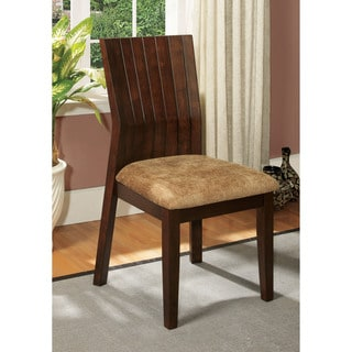 Furniture of America Dustin Angled Walnut Dining Chair (Set of 2)