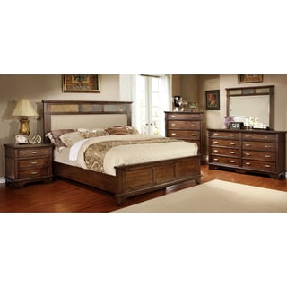 Furniture Of America Perdella 4 Piece Ivory Low Profile Bedroom Set