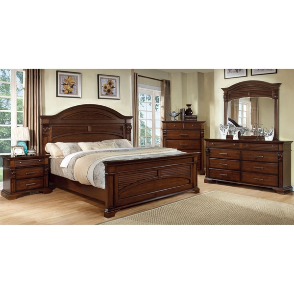 Furniture Of America Eminell 4 Piece Antique Walnut Bedroom Set - Antique Bedroom Furniture