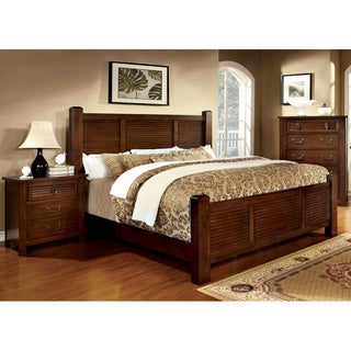 Furniture of America Erindale 2-Piece Brown Cherry Bed with Nightstand Set