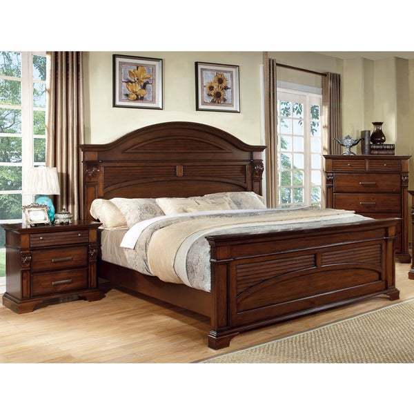 Furniture of America Eminell 3-Piece Antique Walnut Bed Set