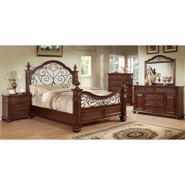 Furniture Of America Barath 4 Piece Antique Dark Oak Bedroom Set