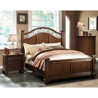 Furniture of America Locklore 3-Piece Antique Dark Oak Bed Set