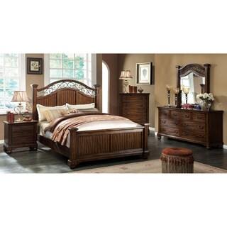 Furniture of America Locklore 4-Piece Antique Dark Oak Bedroom Set