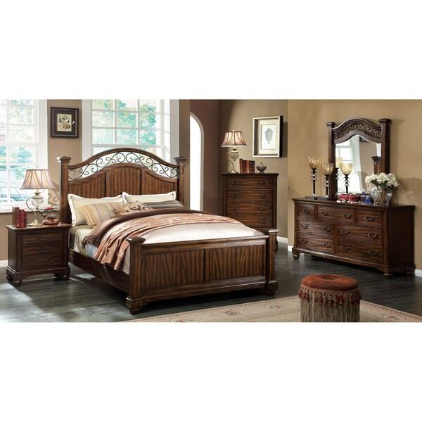 furniture of america locklore 4 piece antique dark oak bedroom set