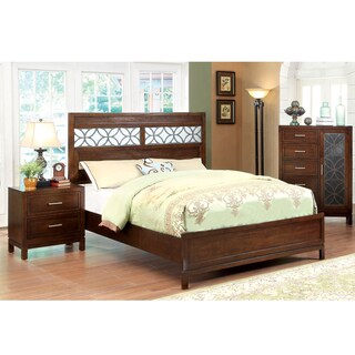 Furniture of America Petalia 2-Piece Brown Cherry Bed with Nightstand Set