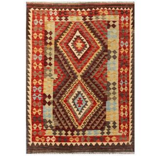 Herat Oriental Afghan Hand-woven Tribal Kilim Red/ Grey Wool Rug (4'3 x 5'8)