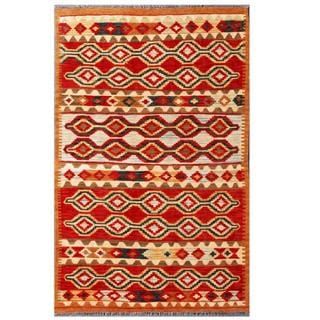 Herat Oriental Afghan Hand-woven Tribal Kilim Red/ Tan Wool Rug (3'10 x 6'1)