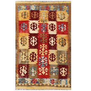 Herat Oriental Afghan Hand-woven Tribal Kilim Red/ Tan Wool Rug (3'9 x 5'10)