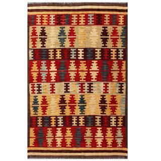 Herat Oriental Afghan Hand-woven Tribal Kilim Red/ Tan Wool Rug (4' x 6'1)