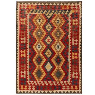 Herat Oriental Afghan Hand-woven Tribal Kilim Red/ Tan Wool Rug (4'2 x 5'9)