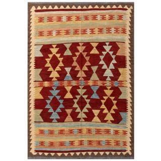 Herat Oriental Afghan Hand-woven Tribal Kilim Red/ Brown Wool Rug (4'2 x 6')