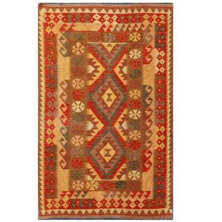 Herat Oriental Afghan Hand-woven Tribal Kilim Red/ Green Wool Rug (4' x 6'5)