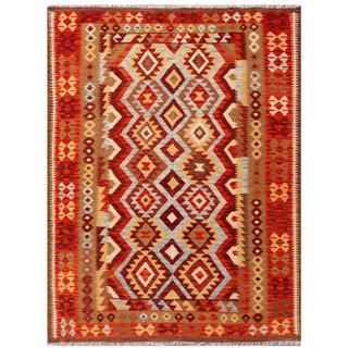 Herat Oriental Afghan Hand-woven Tribal Kilim Red/ Brown Wool Rug (4'11 x 6'4)