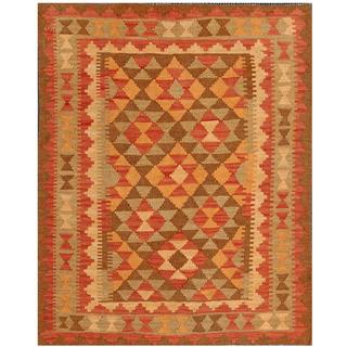 Herat Oriental Afghan Hand-woven Tribal Kilim Red/ Beige Wool Rug (3'1 x 3'11)