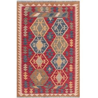 Herat Oriental Afghan Hand-woven Tribal Kilim Red/ Blue Wool Rug (3'1 x 4'8)