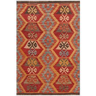 Herat Oriental Afghan Hand-woven Tribal Kilim Red/ Blue Wool Rug (3'4 x 4'11)