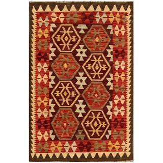Herat Oriental Afghan Hand-woven Tribal Kilim Brown/ Red Wool Rug (2'11 x 4'9)
