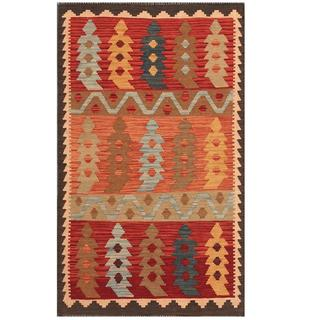 Herat Oriental Afghan Hand-woven Tribal Kilim Red/ Blue Wool Rug (3'1 x 5'2)