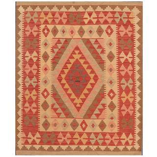 Herat Oriental Afghan Hand-woven Tribal Kilim Red/ Beige Wool Rug (3'4 x 4'1)