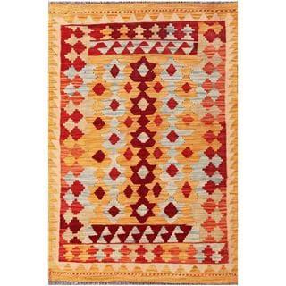 Herat Oriental Afghan Hand-woven Tribal Kilim Tan/ Red Wool Rug (3' x 4'7)