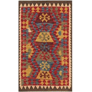 Herat Oriental Afghan Hand-woven Tribal Kilim Blue/ Red Wool Rug (2'10 x 4'10)