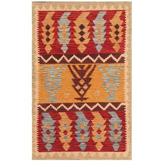 Herat Oriental Afghan Hand-woven Tribal Kilim Tan/ Red Wool Rug (3'1 x 5')