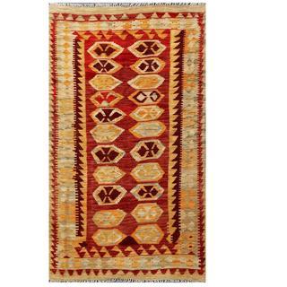 Herat Oriental Afghan Hand-woven Tribal Kilim Red/ Green Wool Rug (3'8 x 6'4)