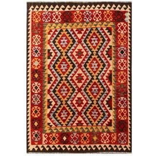 Herat Oriental Afghan Hand-woven Tribal Kilim Red/ Blue Wool Rug (4'4 x 6'2)