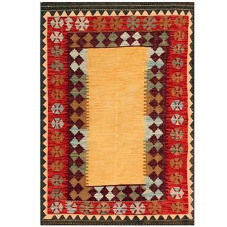 Herat Oriental Afghan Hand-woven Kilim Tan/ Burgundy Wool Rug (4'3 x 5'11)
