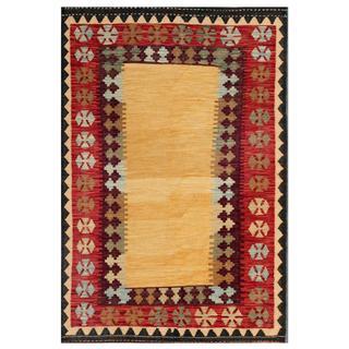 Herat Oriental Afghan Hand-woven Kilim Tan/ Red Wool Rug (4'1 x 6')