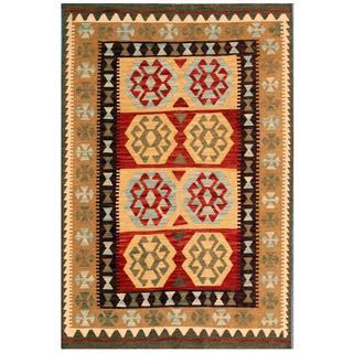 Herat Oriental Afghan Hand-woven Kilim Tan/ Red Wool Rug (4'2 x 6'2)