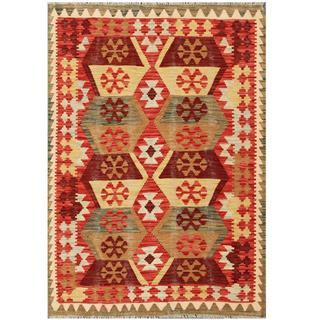 Herat Oriental Afghan Hand-woven Kilim Red/ Tan Wool Rug (4'3 x 5'11)