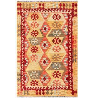 Herat Oriental Afghan Hand-woven Kilim Tan/ Salmon Wool Rug (4'2 x 6'2)