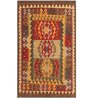 Herat Oriental Afghan Hand-woven Tribal Kilim Red/ Blue Wool Rug (3'1 x 5'1)