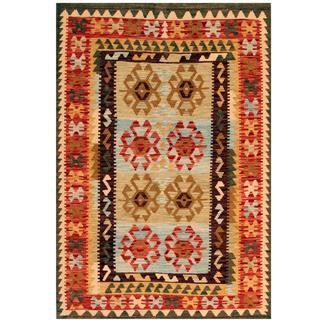 Herat Oriental Afghan Hand-woven Kilim Beige/ Red Wool Rug (4'1 x 6')