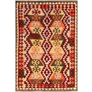 Herat Oriental Afghan Hand-woven Kilim Maroon/ Tan Wool Rug (4'1 x 5'11)