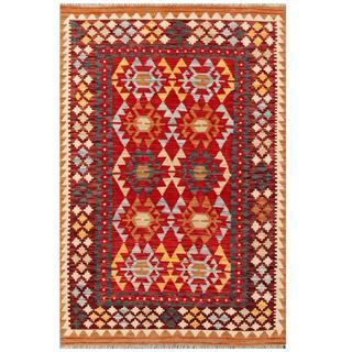 Herat Oriental Afghan Hand-woven Kilim Red/ Ivory Wool Rug (4'1 x 6')