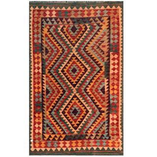 Herat Oriental Afghan Hand-woven Kilim Purple/ Red Wool Rug (3'10 x 6'2)