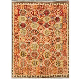 Herat Oriental Afghan Hand-woven Kilim Red/ Ivory Wool Rug (4'3 x 5'9)